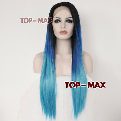 Halloween 26 Inches Blue Mixed Black Straight Lace Front Wig+ Free Cap