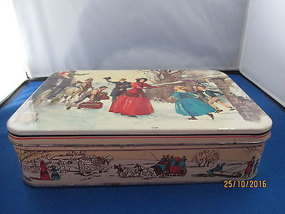 Vintage Huntley & Palmer Winter Family scene biscuit tin (my ref 44)