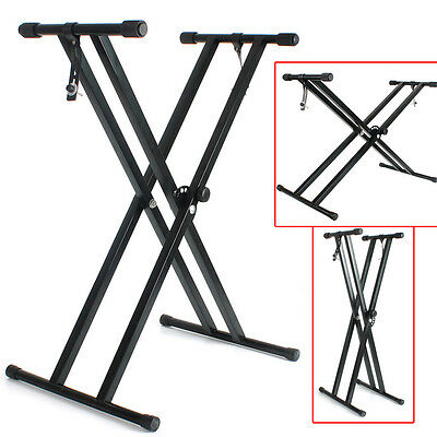 Adjust Heavy Duty Folding Double X Frame Keyboard Piano Music Stand Xmas Gift
