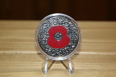 """New Uncirculated !!!  5 Pounds 2014 Bailiwick Of Jersey """" 100 Poppy """" Scarce !!!"""