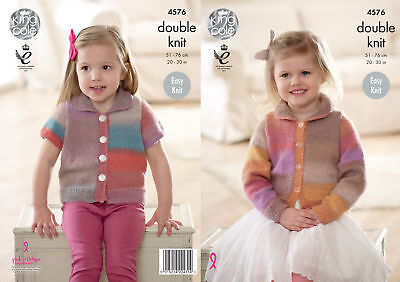 King Cole Girls Double Knitting Pattern Easy Knit Cardigans with Collar DK 4576
