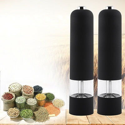 Electric Pepper Herb Mill Salt Spice Grinder Stainless Steel &Acrylic Black Tool