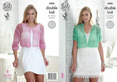 Womens Easy Lace Short Cardigans Knitting Pattern King Cole Ladies Vogue DK 4456