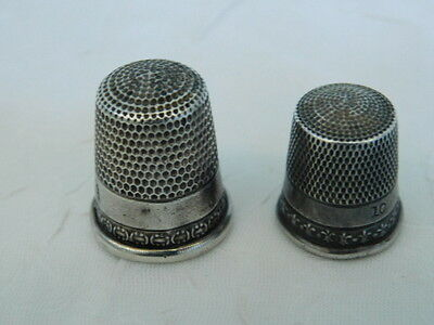 Two Sterling Silver Thimbles Vintage 10 & 11