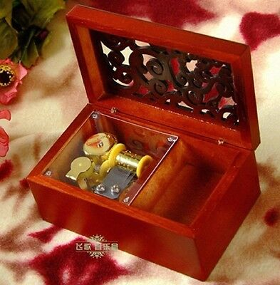 Wooden Rectangle Carving Jewelry Music Box ♫ Harry Potter Hedwigs Theme ♫