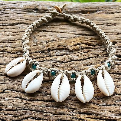 Hand Made Hemp Macrame Anklet with Cowrie Shells With Teal Glass Beads
