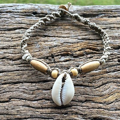 Hand Made Hemp Anklet with Cowrie Shells and Timbre Beads Small Ankle