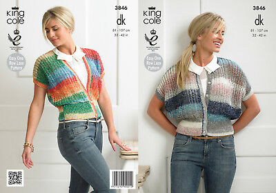 King Cole Womens Double Knitting Pattern Ladies Lace Style Cardigans DK 3846
