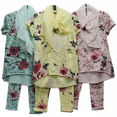 Girls Two Piece Rose Print Lounge Suit With Stylish Scarf