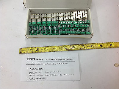 1-Box DINnectors DN-24J8 Insulated Jumper Bars, 24 Poles, 5-Sets. NEW