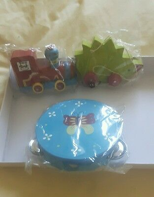 wooden toys train, hedgehog and tambourine brand new