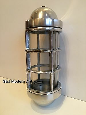 Industrial Bulkhead Wall Light Vintage Antique Retro Cage Ship Lamp Aluminium