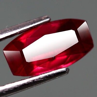 1.85Ct.lovely! Fancy Facet Top Blood Red Natural Ruby Madagascar