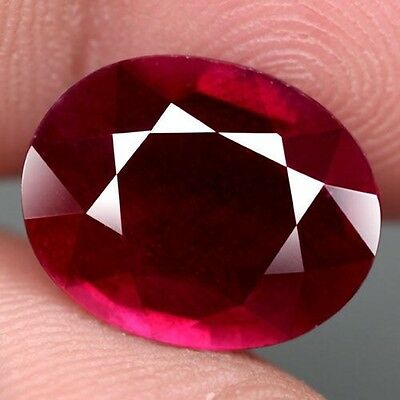 9.02Ct.gorgeous! Oval Facet Top Blood Red Natural Ruby Madagascar