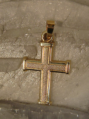 10K Gold Cross Pendant Textured Religious Simple Yet Elegant Really Nice !!!