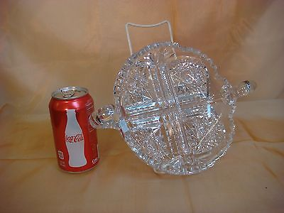 American Brilliant Cut Crystal Glass 4 Split Candy Dish Double Handled Vintage