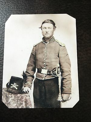 Civil War Military Union Soldier Saber Hardee Hat  TinType C741NP