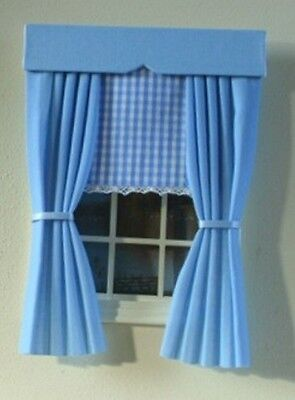 Dolls House Curtains Blue With Gingham Blind