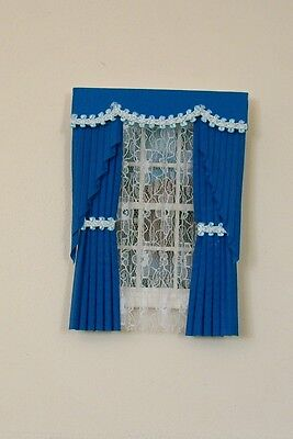 Dolls House Curtains Royal Blue Swag Effect With  Braid