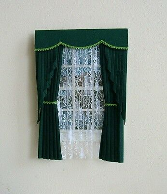 Dolls House Curtains Green Swag Effect