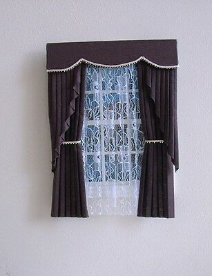 Dolls House Curtains Brown Swag Effect