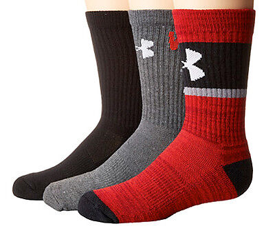 Boys Under Armour UA Next Statement Crew Socks 3 pack Large YLG (Shoe Size 1-4)
