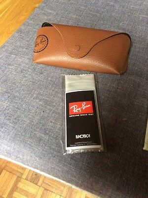 Ray Ban Brown Glasses Case Faux Leather With Microfiber Cloth
