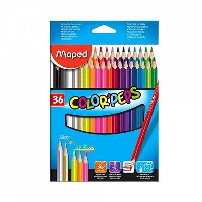 Maped Color'Peps 36 Colouring Pencils Silver Gold Fluo Coloured Pencil Crayons