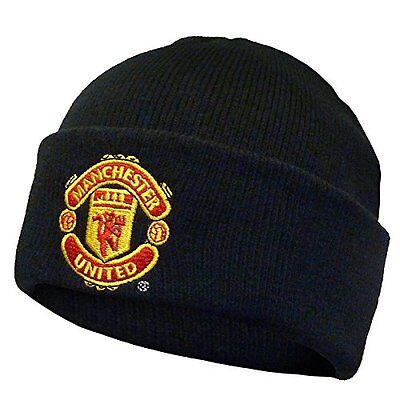 Manchester United FC Official Gift Knitted Bronx Beanie Hat Black