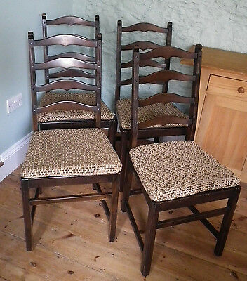 Set of Four Ercol Old Colonial Ladder Back Dining Chairs