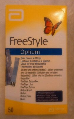 1 box of 50 FreeStyle optium, blood glucose test strips