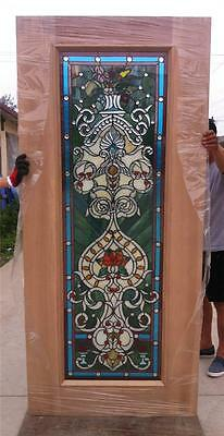 Beautiful Custom Design Hand Made Mahogany Wood Stained Glass Entry Door - Jh360