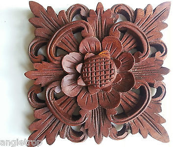 Balinese Traditional Sun Flower Hard Wood Carved Wall Hanging Bali Carving 14Cm
