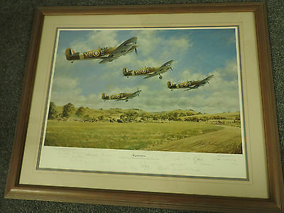 Military Douglas Bader 60th Print Inspiration 20 Spitfire Pilot Signed (3892)