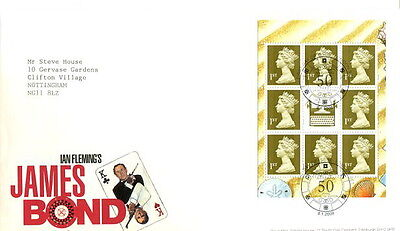 2008 James Bond Prestige Booklet pane Royal Mail fdc London SE1 special cancel