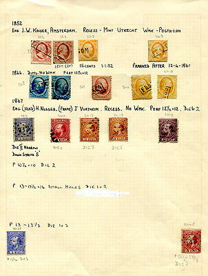 Netherlands 1852-1867 album page of 16 used stamps including four imperforates