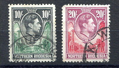 Northern Rhodesia GVI 10/- and 20/- values finely used, slight perf faults