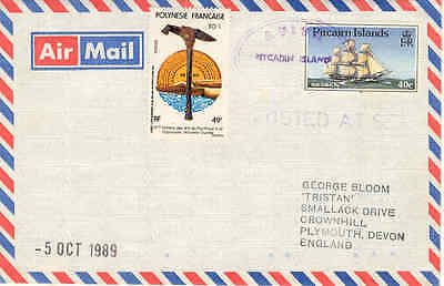 """Pitcairn Islands / Polynesia 1989 """"AVIVA / Posted at Sea"""" COVER TO England"""