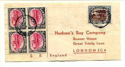 South West Africa 1930s parcel label pictorial 2/6d block Hudson's Bay Co. to UK