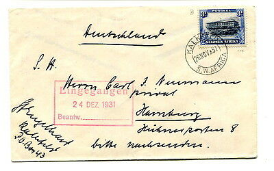 South West Africa 1931 3d. commercial cover sent Kalkfeld to Hamburg