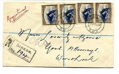 South West Africa 1933 8d. registered cover sent from Gibeon to Windhoek