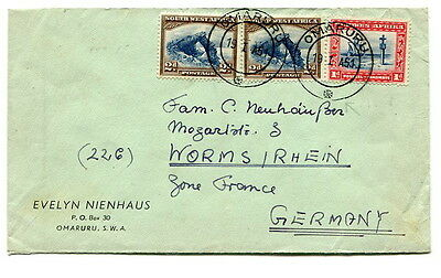South West Africa 1951 5d. (late usage) cover sent from Omaruru to Germany