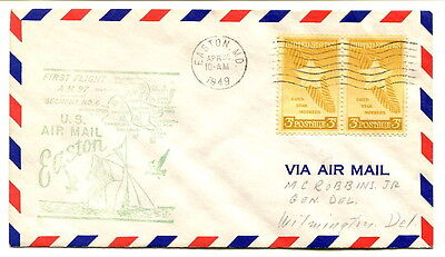 USA 1949 2x3c. First Air Mail Flight cover Route AM 97 Easton to Wilmington