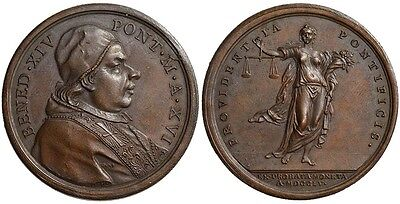 M- Rome, Benedict XIV, AE Medal 1755, Officer's Mint Prize, PT