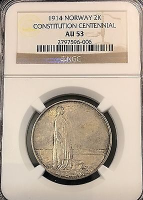 Norway 1914 Silver 2 Kroner Centennial Issue NGC Certified AU