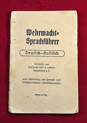 German Wwii Wehrmacht Book German - Russian Dictionary Very Rare War Relic
