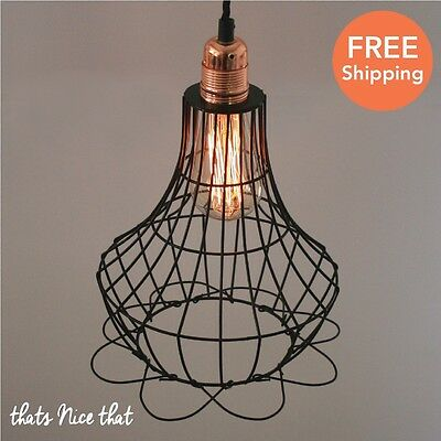 Industrial Lampshade Light Lamp Shade Fitting Cage Bulb Wire Vintage Retro Style