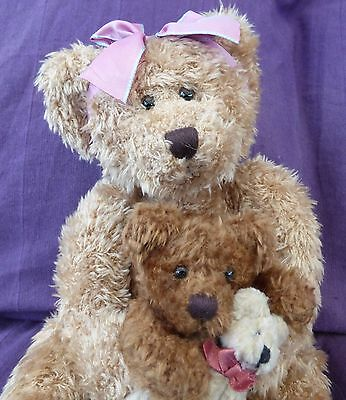 Russ Marmie plush bear with baby