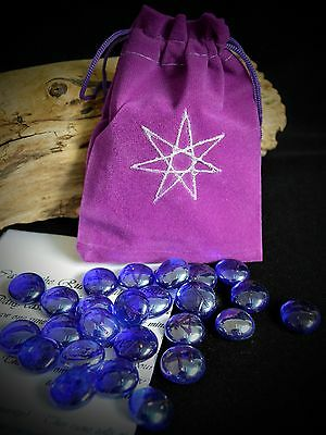 25 GLASS RUNE STONES & BAG Handmade Faerie Wicca pagan Witchcraft Elven Star