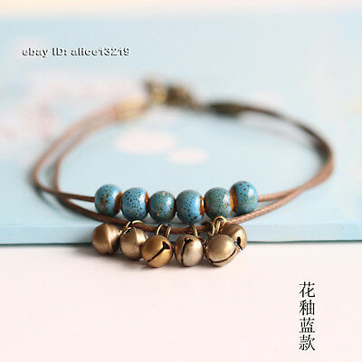 Chinese Fashion simple ceramic Handmade double bell Anklet
